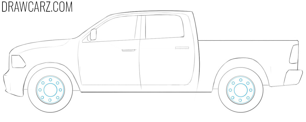 how to draw a ram truck step by step