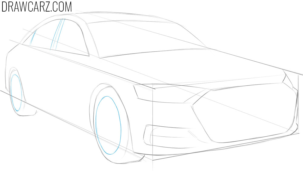how to draw car wheels in perspective