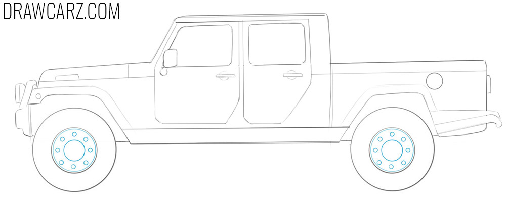 how to draw a Jeep Truck easy