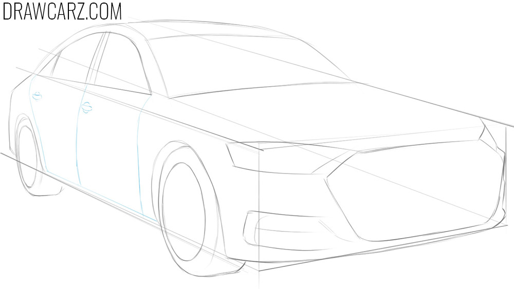 how to draw a car in 1 point perspective