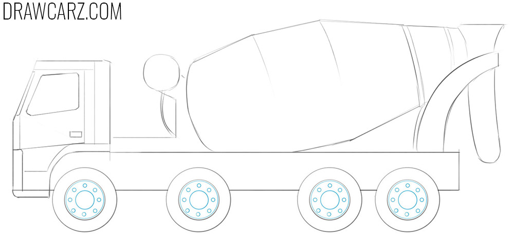 how to draw a concrete truck