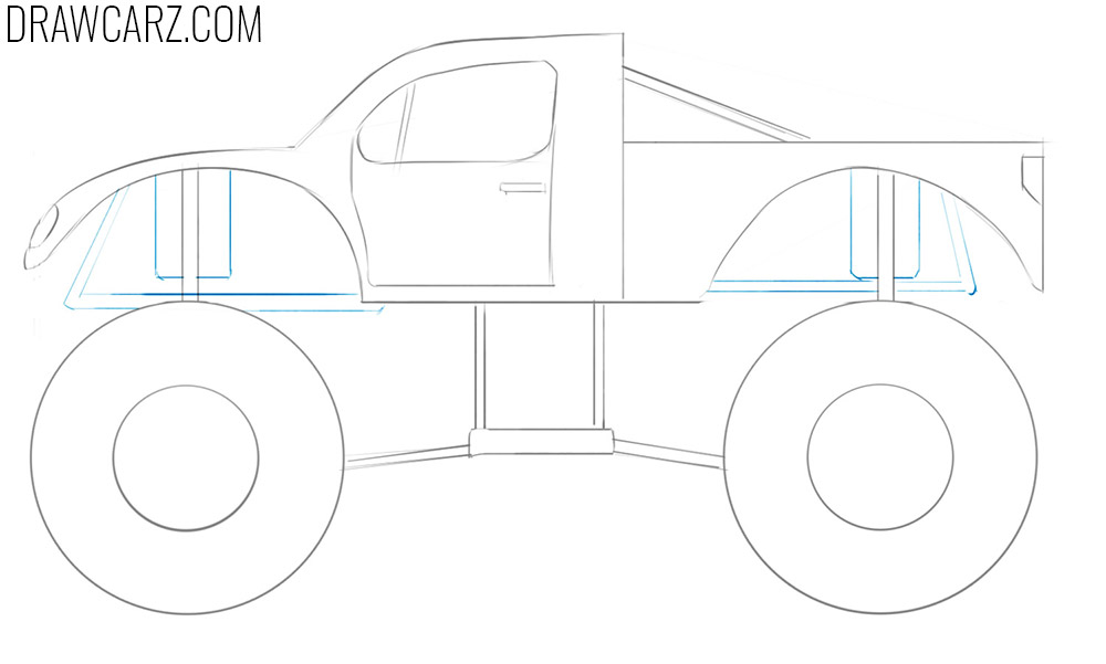 how to draw a monster truck easy step by step