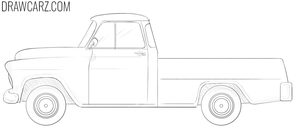 how to draw an old chevy truck
