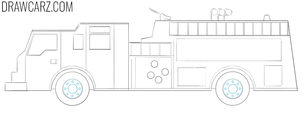 how to draw a fire truck easy