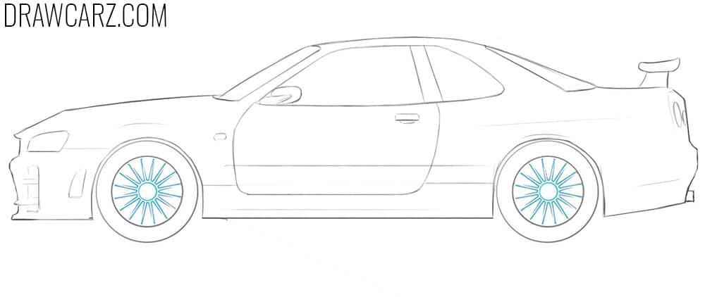 how to draw a nissan skyline r32